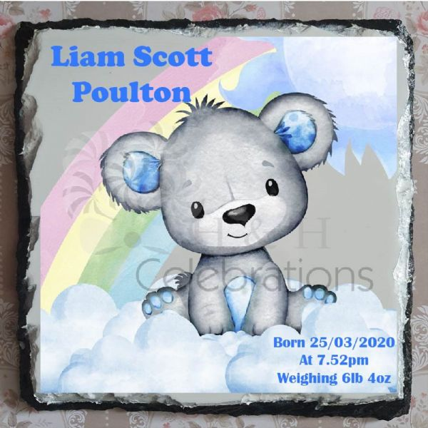 Rainbow Bear New Baby Boy Stats Rock Slate - Blue
